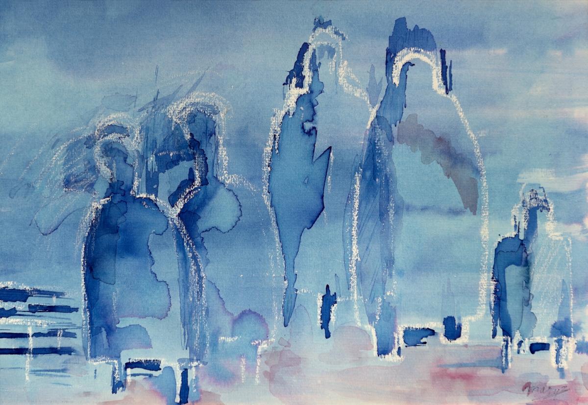 Schilderij estafettekaars blauw verkleind